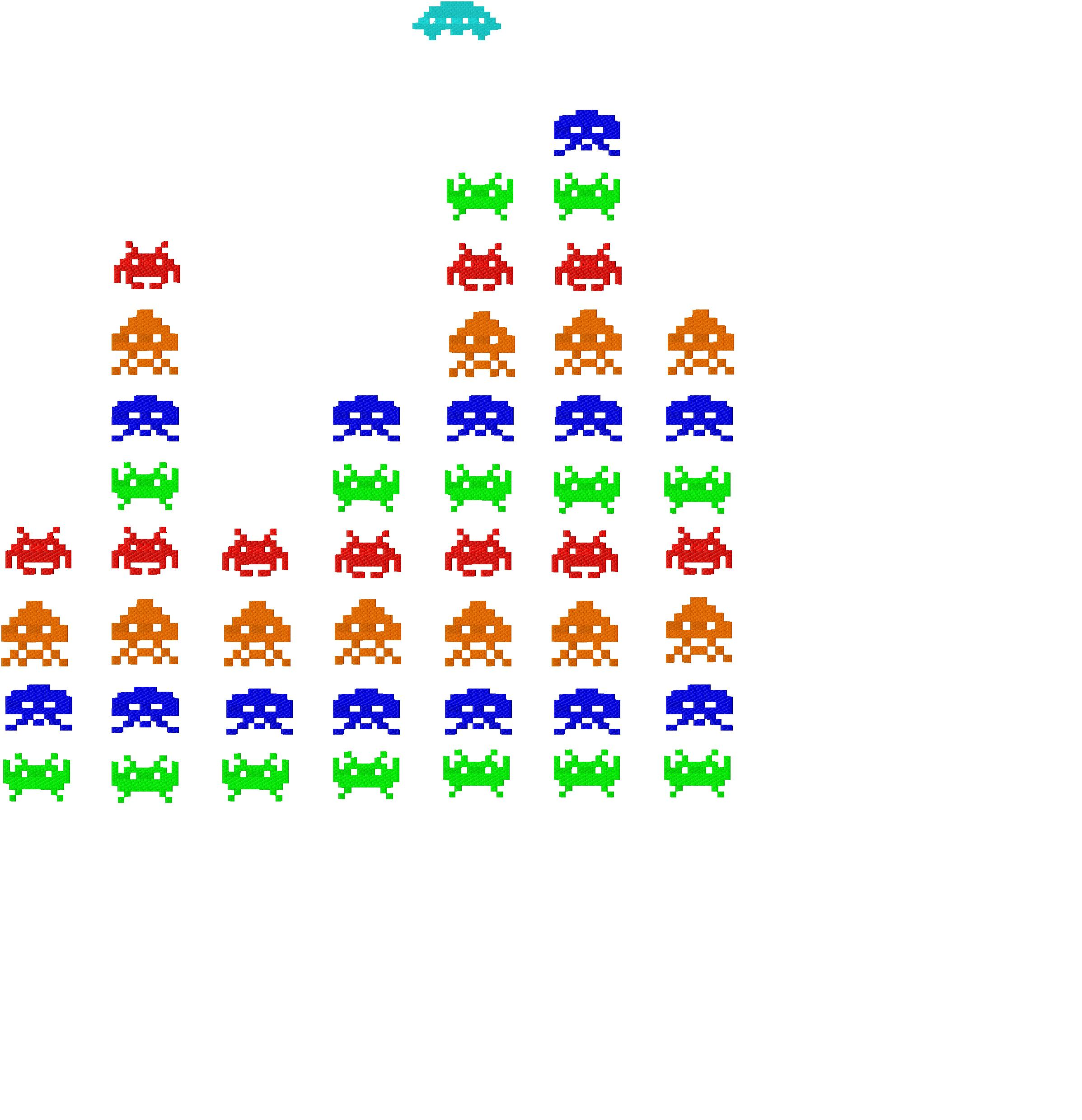 Space invaders free machine embroidery design daily for Space embroidery patterns
