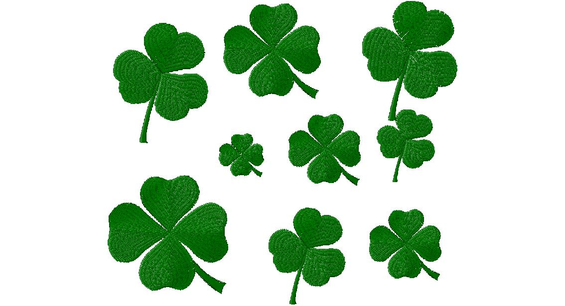 free st patrick s day clovers machine embroidery design daily embroidery. Black Bedroom Furniture Sets. Home Design Ideas