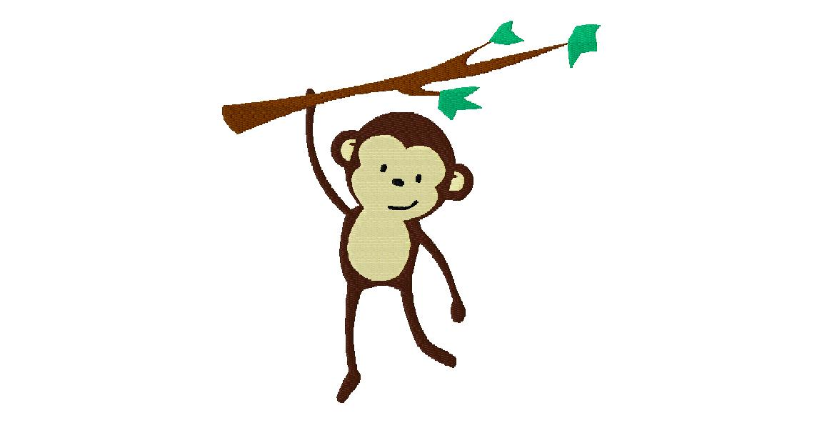 Free Fully Stitched Monkey On Branch Design Daily Embroidery