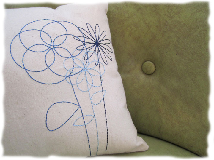 Free Machine Redwork Line Floral Design Daily Embroidery