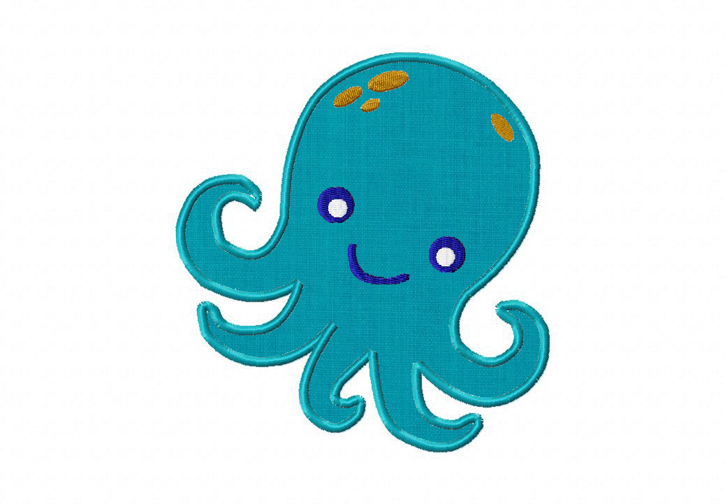 Free Octopus Machine Embroidery Design Includes Both Applique And