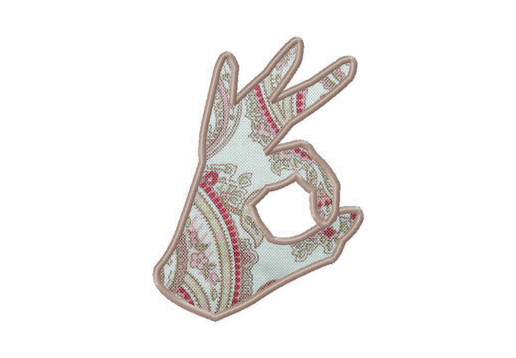 Ok hand sign embroidery design includes both applique and fill