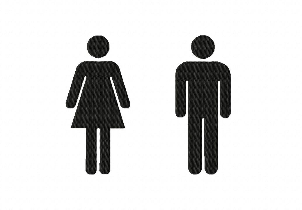 woman and man bathroom sign figures for gold members