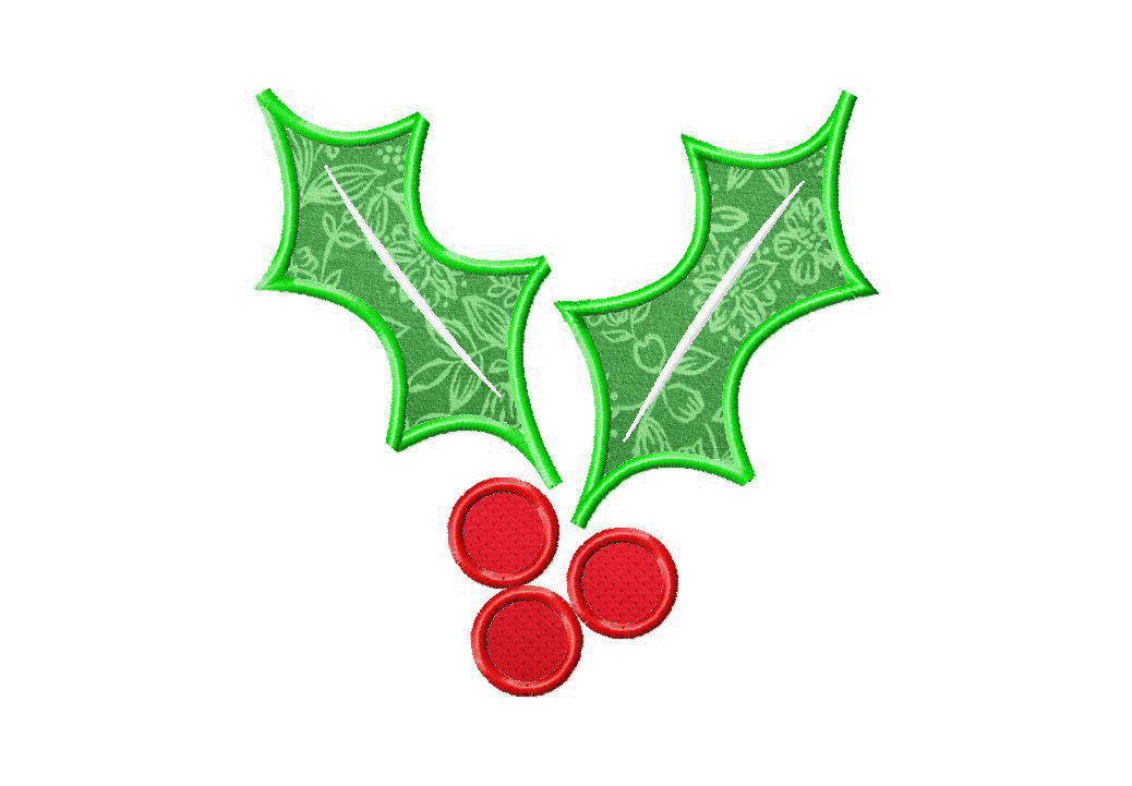 Christmas Holly Machine Embroidery Design Includes Both Applique And