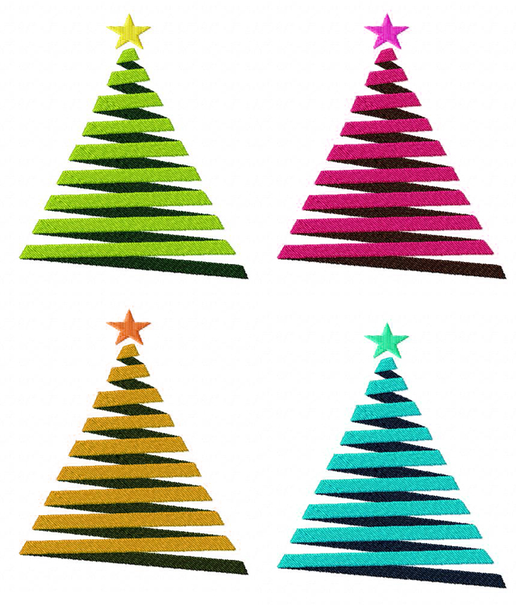 free decorative christmas tree machine embroidery design