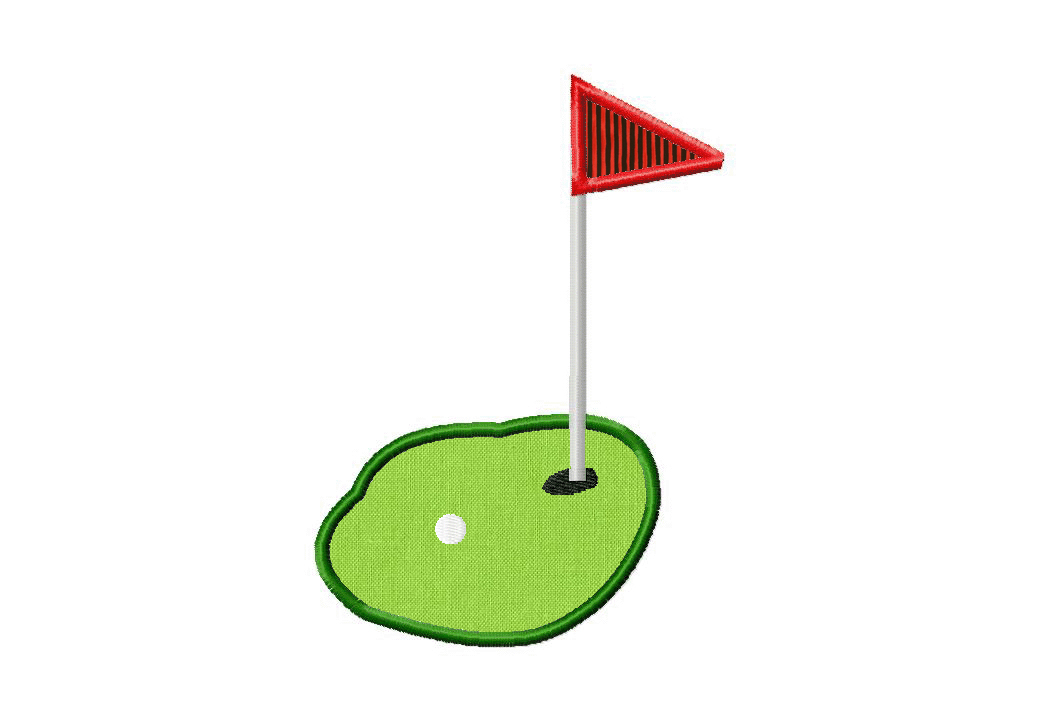 Free Golf Green Machine Embroidery Design Includes Both Applique And