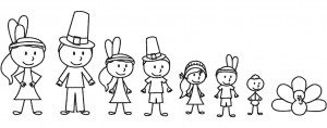 Thanksgiving Stick Family Embroidery Design