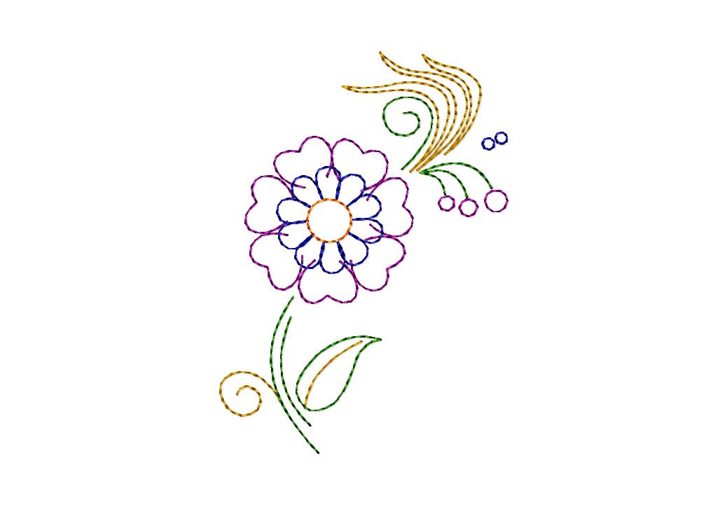 Free whimsical line work floral machine embroidery design