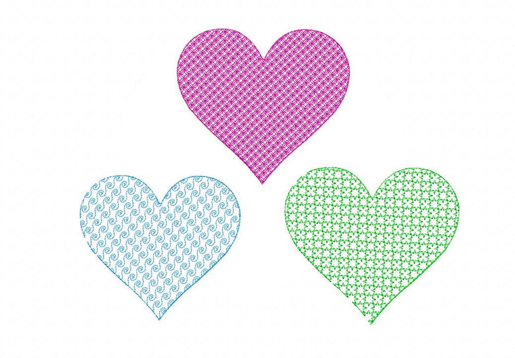 Free machine embroidery motif stitched heart three pack i