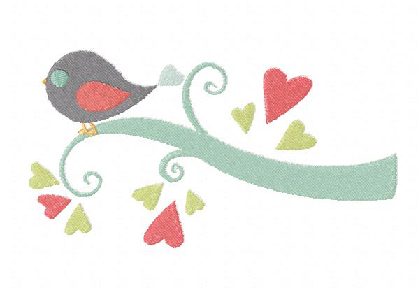 Free bird on a love limb machine embroidery design daily