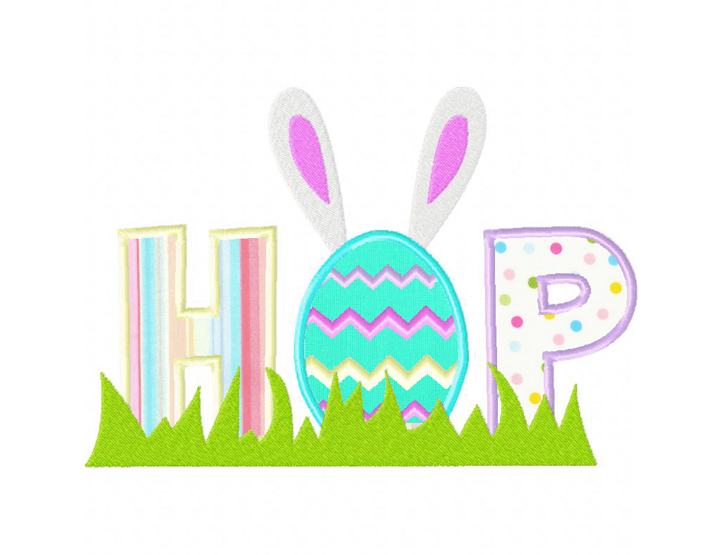 Easter themed hop machine embroidery design includes both