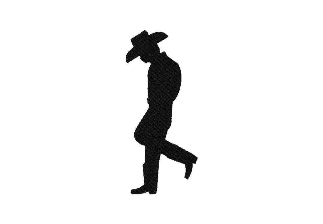 Free Cowboy Stance Silhouette Machine Embroidery Design Daily