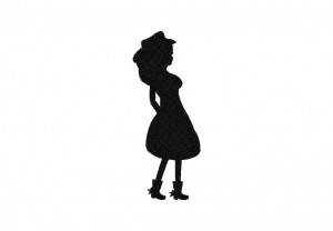Cowgirl Stance Silhouette Stitched 5_5 Inch