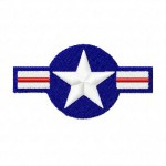 Military Airplane Stars and Stripes Machine Embroidery Design