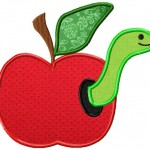 Machine Embroidery Applique Apple with Worm