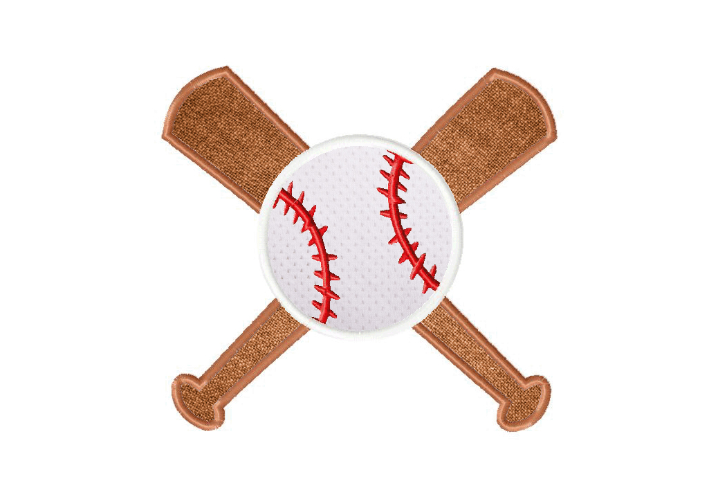 Baseball and Bats Machine Embroidery Includes Both Applique and Filled Stitch