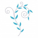 Decorative Blue Leaf Machine Embroidery Design