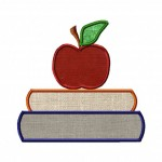 Books and Apple Machine Embroidery Applique