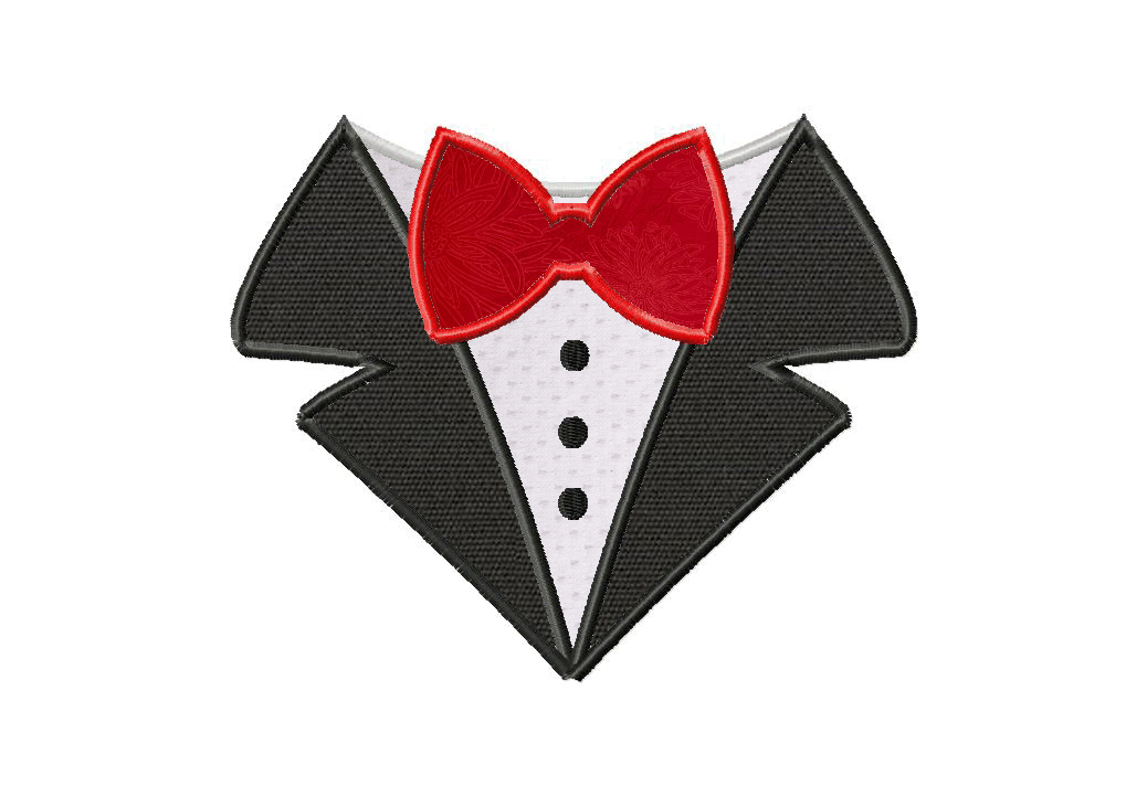 Bow tie machine applique embroidery design u daily embroidery