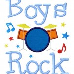 Girls Rock and Boys Rock Machine Embroidery Two Pack