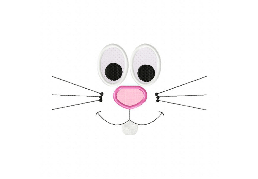 Bunny Face Machine Embroidery Design Includes Both Applique and Filled Stitch