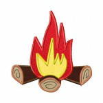 Campfire Embroidery Design Includes both Applique and Fill Stitch