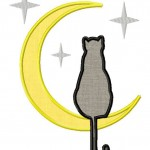 Cat in the Moon Includes Both Applique and Fill Stitch