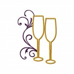 Champagne Glasses Machine Embroidery Satin Stitch Design