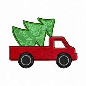 Christmas Tree Truck Machine Applique Includes Both Applique and Fill Stitch