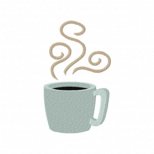 Steaming Coffee Cup Machine Embroidery Design