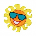 Cool Sun Embroidery Includes Applique and Fill Stitch