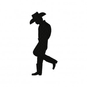 Cowboy Stance Silhouette Machine Embroidery Design