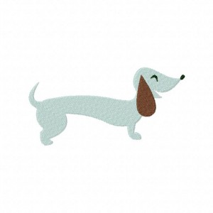 Dachshund Dog Machine Embroidery Includes Both Applique and Filled Stitch