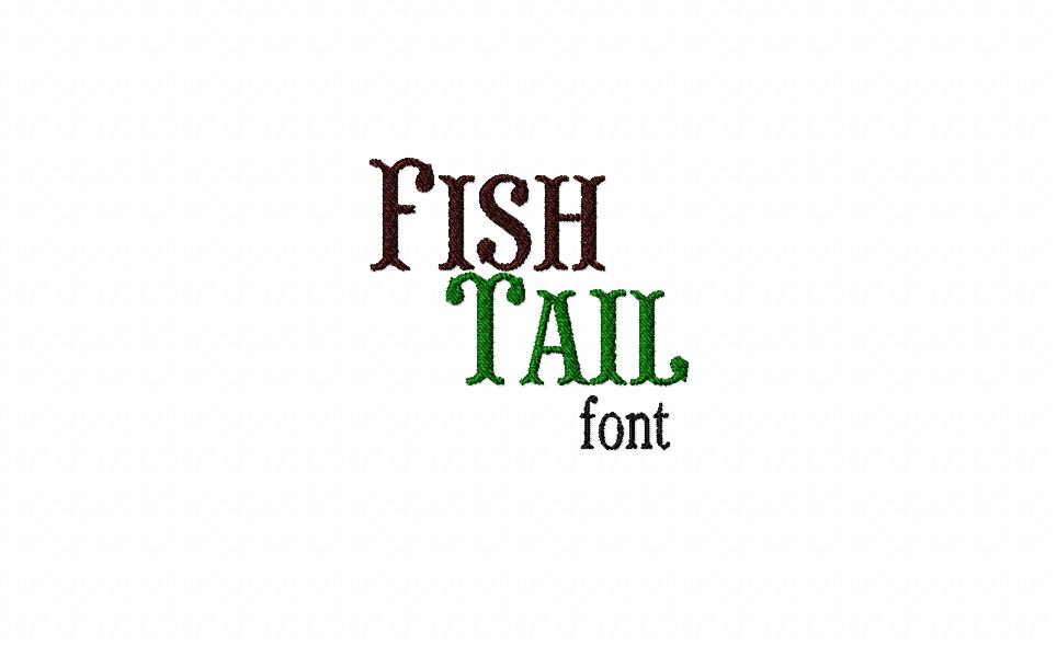 Fish Tail Machine Embroidery Font Set
