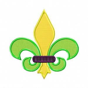 Multi-colored Fleur De Lis Machine Embroidery Includes Both Applique and Filled Stitch