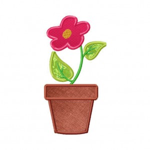 Flower Pot Machine Embroidery Includes Both Applique and Filled Stitched