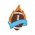 Football Banner Flames Stitched 5_5 Inch