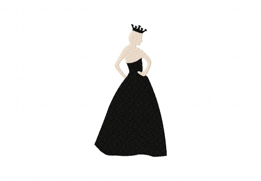Formal Princess Gown Machine Embroidery Design