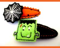 Easy In The Hoop Halloween Barrette Covers Two Pack with Tutorials