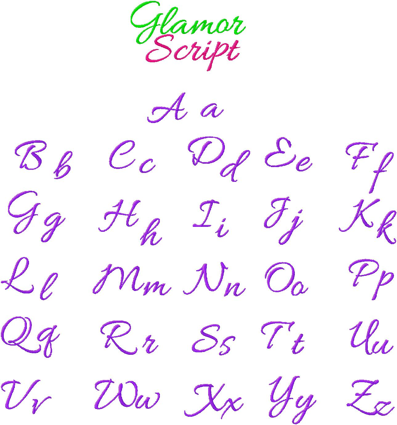 Cursive Embroidery Font Glamour Script | Daily Embroidery
