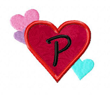 Heart Frames Machine Embroidery Applique Font Set