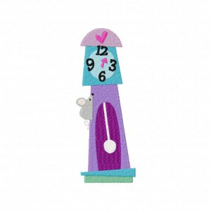 Hickory Dickory Dock Mouse and Clock Machine Embroidery Design