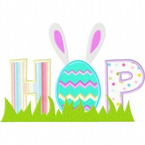 Easter Themed Hop Machine Embroidery Design Includes Both Applique and Filled Stitch