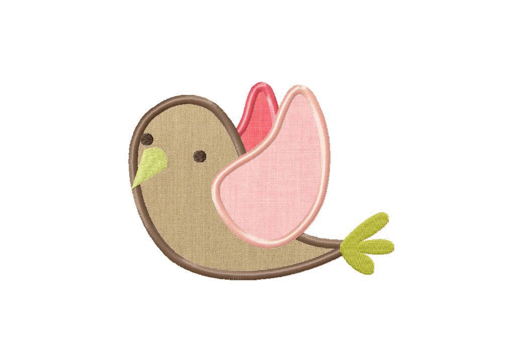 Little birdie machine embroidery design includes both applique and