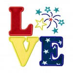 Love Fireworks Applique 6X10 Hoop