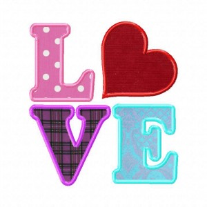 Love Machine Embroidery Design Includes Both Applique and Fill Stitch