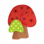Mushroom Embroidery Design Includes Fill Stitch and Two Versions of Applique