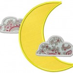 Machine Applique Cloud and Moon Design