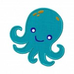 Octopus Machine Embroidery Design Includes Both Applique and Fill Stitch