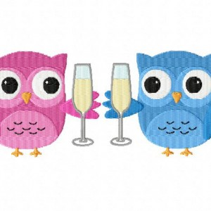 Celbrating Owls Machine Embroidery Design